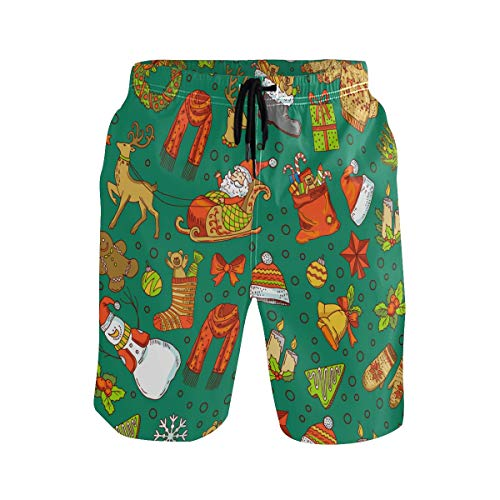 Mens Swim Trunks Quick Dry Christmas Santa Claus Board Shorts with Pocket Beach Shorts for Swimming