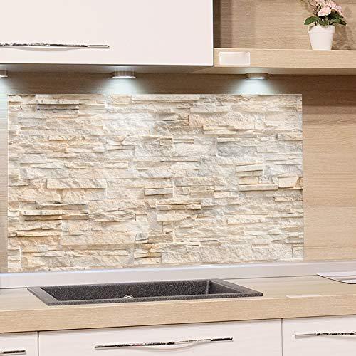 GRAZDesign Küchen-Spritzschutz Glas, Bild-Motiv Steinmauer hell Steinoptik, Glasbild als Küchenrückwand - Küchenspiegel / 80x50cm