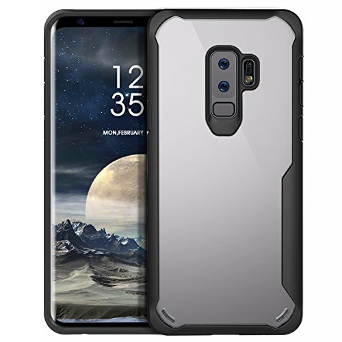 MILPROX Samsung Galaxy S9 Plus Case, Eye-catching Series Ultra Thin Slim Transparent Crystal Clear PC Back Cover with Rubber TPU Bumper, Shockproof Anti-Scratch case for Samsung S9 Plus - Black