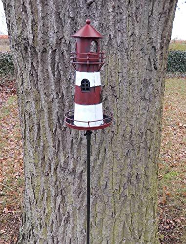 Deko-Impression Leuchtturm am Gartenstab Gartenstecker Windlicht Eisen rot-weiß lackiert 135 cm