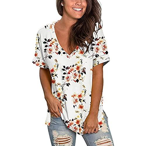 Camiseta de manga corta con cuello en V para mujer, con estampado floral, para verano, para mujer