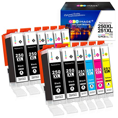 GPC Image Compatible Ink Cartridge Replacement for Canon 250XL 251XL to use with Pixma MX922 MG7520 MG5520 MG5420 MG6620 IP8720 iX6820 MG5620 Printer (4 PGBK,2 Black,2 Cyan,2 Magenta,2 Yellow,12 Pack)