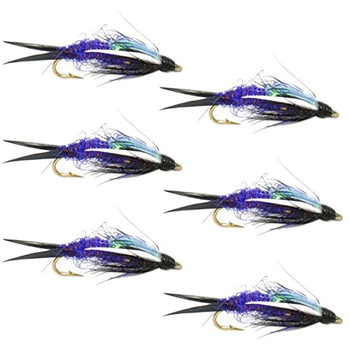 The Fly Fishing Place Double Bead Purple Psycho Prince Nymph Fly Fishing Flies 6 Flies Hook Size 10