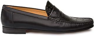 أحذية رجالية رسمية فاخرة من Mezlan SICA - جلد العجل والتمساح بدون كعب مع نعل جلدي - مصنوعة يدويًا في إسبانيا - عرض متوسط