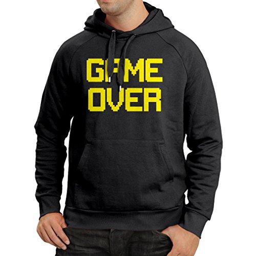 lepni.me Felpa con Cappuccio Game Over! Gioco retrò, Abbigliamento da videogiocatore Divertente (Medium Nero Giallo)