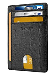 """STYLISHLY SMALL, SLIM & DISCREET: Measuring just 3 1/8"""" x 4 7/16"""" x 1/26"""", our RFID front pocket slim wallet is super thin & modernly slim. It's the minimalist wallet that fits perfectly in your pocket, purse or travel pack. EFFECTIVELY BLOCKS RFID S..."""
