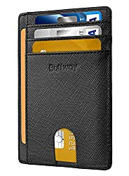 top rated RFID Block Leather Wallet for Men and Women Buffway Slim Minimalist Front Pocket – Cross Black 2021