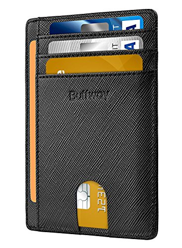 Buffway Slim Minimalist Front Pocket RFID Blocking Leather Wallets for Men Women - Cross Black
