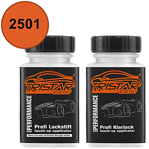 TRISTARcolor Autolack Lackstift Set für Mercedes/Daimler Benz 2501 Rotorange/Red-Orange Basislack Klarlack je 50ml