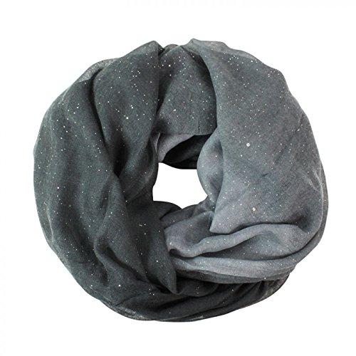 Glamexx24 Neue Kollektion Damen schal leichter Langschal Loop Schlauchschal Tuch Viele Farben, Dunkelgrau/Grau/Hellgrau, Einheitsgröße