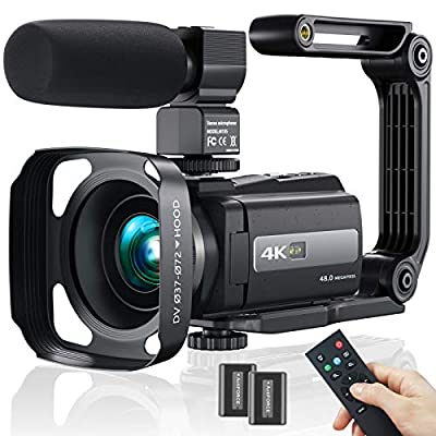 Video Camera Camcorder, 4K 60FPS WiFi Ultra HD 48MP Vlogging Recorder with IPS Touch Screen, IR Night Shot Digital Camcorder with Stabilizer, Microphone, 2.4 G Remote Control, Hood, 2 Batteries by MELCAM