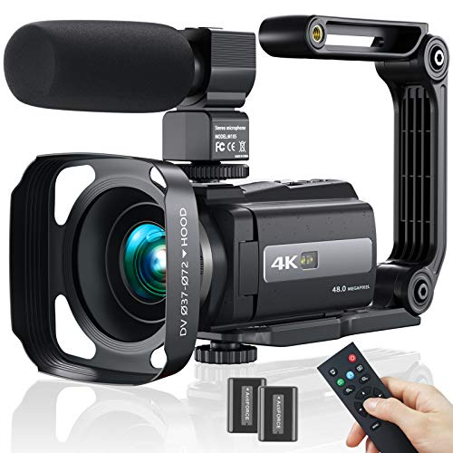 Video Camera Camcorder, 4K 60FPS WiFi Ultra HD 48MP Vlogging Recorder with IPS Touch Screen, IR Night Shot Digital Camcorder with Stabilizer, Microphone, 2.4 G Remote Control, Hood, 2 Batteries