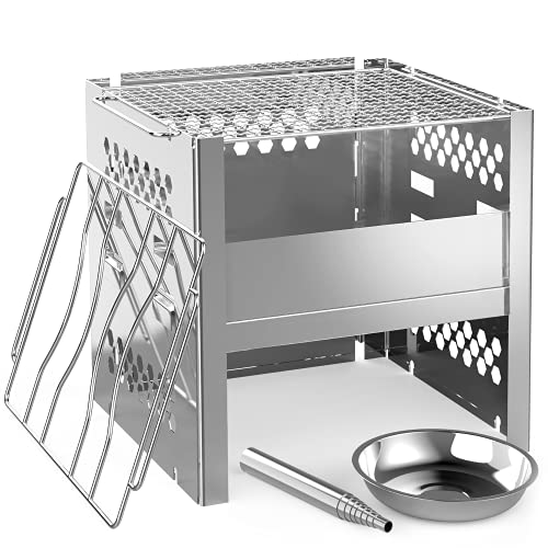 Ohuhu Wood Burning Camp Stoves Portable Folding Stainless Steel Backpacking Stove with Adjustable Ash Catcher, Grill Grid, Blowpipe, Carry Bag for Camping Backpacking Hiking Cooking Pinic BBQ