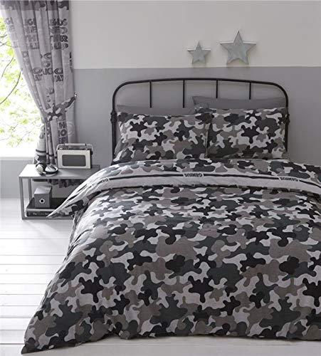 Homemaker Army camo single duvet set grey khaki quilt cover bed set