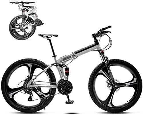 Bicicleta MTB de 24 pulgadas unisex plegable bicicleta de montaña Off-Road Bicicletas de velocidad variable para hombres y mujeres freno de disco doble-A_24 velocidad