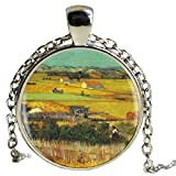Collar largo con colgante de pintura pastoral, declaración de Chian, hecho a mano, estilo vintage