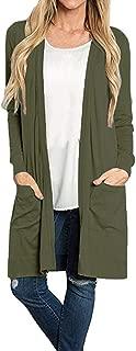Fudule Women's Open Front Cardigans Sweater Long Sleeve Lightweight Kimono Cardigan Loose Pocket Solid Duster Coats
