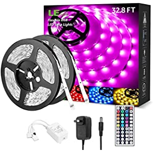 LED Lights for Bedroom 32.8ft, RGB LED Light Strips, 5050 LED Color Changing Tape Light with 44 Key Remote and 12V Power Supply, LED Lights for Room, TV Backlight, Kitchen, Bar