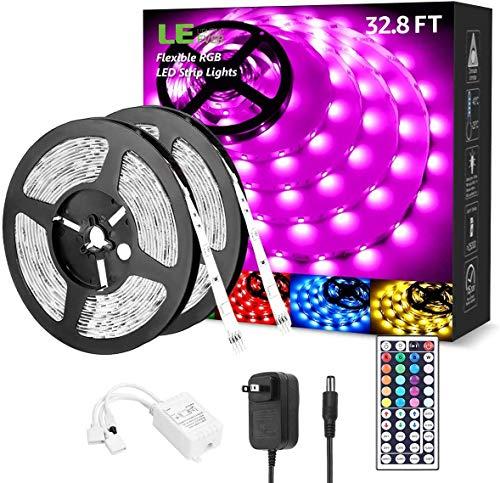 LED Strip Lights 32.8ft, RGB LED Light Strip, 5050 SMD LED Color Changing Tape Light with 44 Keys Remote and 12V Power Supply, LED Lights for Bedroom, Home Decoration, TV Backlight, Kitchen, Bar