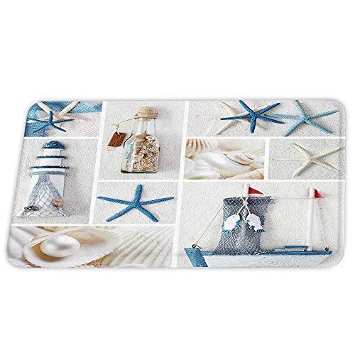Ocean Beach Sandbeach Starfish Coral Velvet Bath Rugs Non Slip Shower Mat for Bathroom Decor Sets Door Rug with Rubber Backing Absorbent Kitchen Floor Carpet 17 x 24 inches Blue
