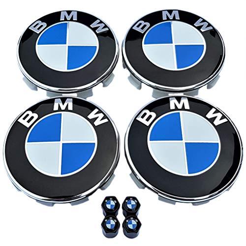 SMP® 4X 68mm Nabenkappen für BMW + BMW Ventilkappen! Felgendeckel, Nabendeckel, Nabenabdeckungen, Nabenkappe, Radnabendeckel, Felgenkappen, Centercaps, Centre hub caps, 36136783536/36122455269
