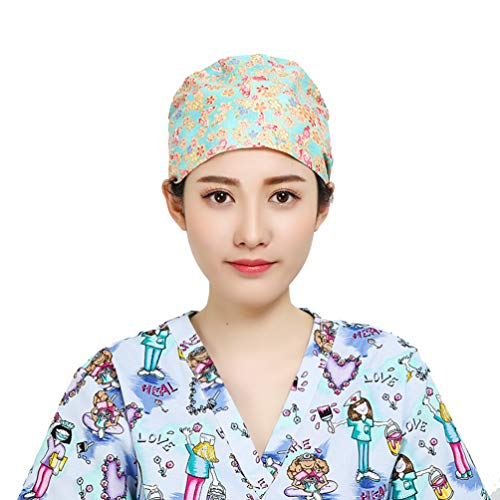Fenical OP-Kappe Baumwoll-Chirurgenmütze staubdichte Peelingkappen Krankenschwester Hut für Frauen Damen
