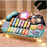 N\A Piano Drum Set Juguetes Musicales para Bebés con Baquetas, Micrófono, Funciones De Iluminación, Teclado, Batería Y Teléfono con Música para Niños, Bebés, B
