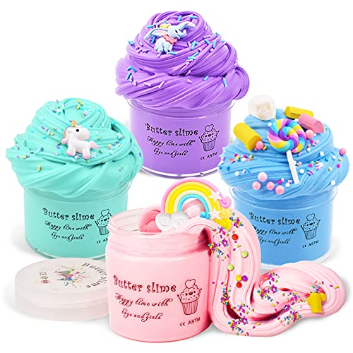 Toys Gifts for 6 7 8 9 10 Year Old Girls, Kids Fluffy Slime Kits Toy for...