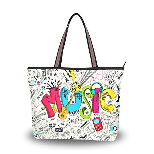RXYY Arte Pintura Musical Cotización Bolsos y Monedero para Mujeres Bolso de Mano Gran Capacidad Asa Superior Shopper Bolso de Hombro, color Multicolor, talla Large