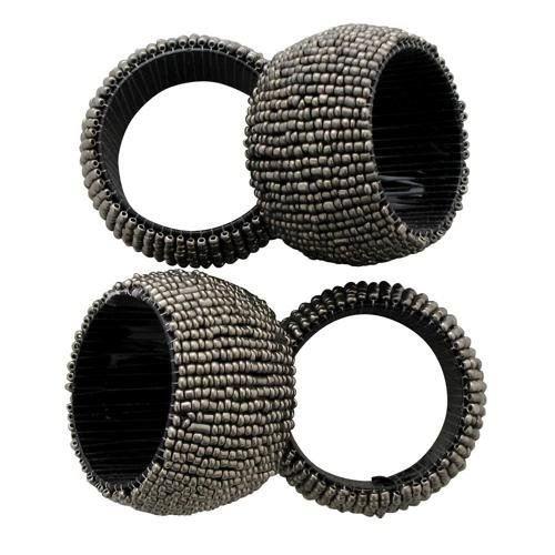 CONCEPT4U 8 x Silver Grey Beaded Napkin Rings for Party Home Decoration Christmas Table Serviette Wedding Birthday Dinner Gift Xmas