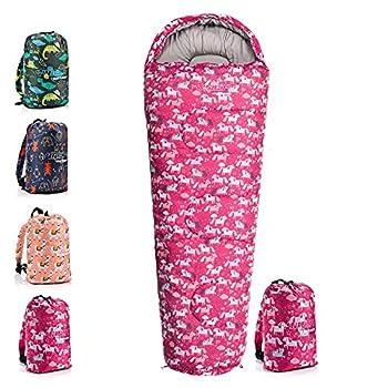 meteor Sac de couchage pour enfant de qualité supérieure avec sac à dos - Ultra léger - Confortable - Pour le camping et les jeunes
