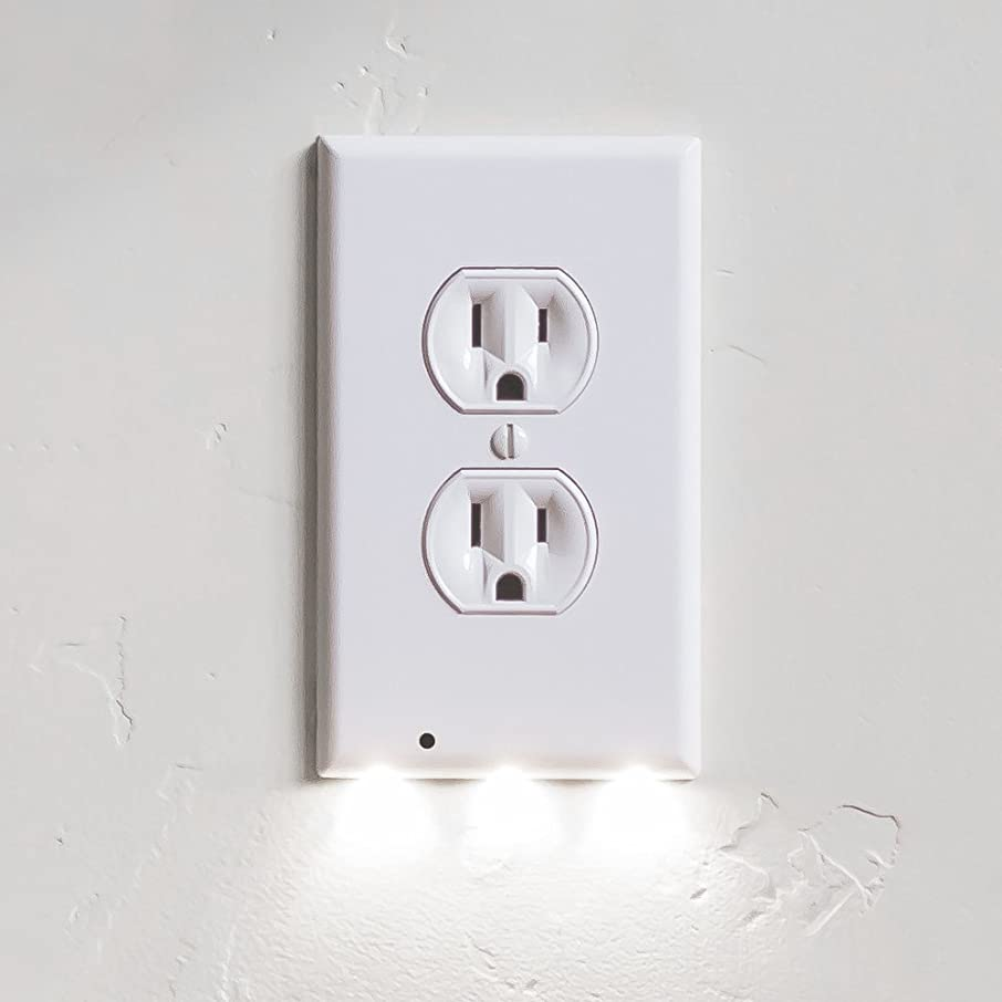 7 Pack SnapPower GuideLight - Outlet Wall Plate With LED Night Lights - FOR OUTLETS - (Duplex, White)