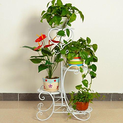 KK- Style européen Fer créatif étagères de Fleurs à Plusieurs étages Pendentif orchidée Balcon Salon étagère intérieur étagère (Couleur: Blanc)