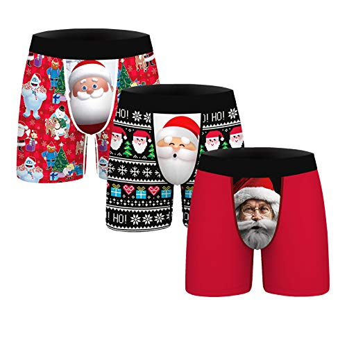 GLUDEAR Men's 3-Pack Funny Ugly Christmas Boxers Novelty Humorous Boxer Shorts Underwear,Santa Claus,M