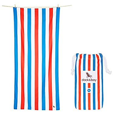 Dock & Bay Big Beach Towels Quick Dry - Blue & Red, Extra Large 78x35 - USA colors striped, compact swim towel, pool towel
