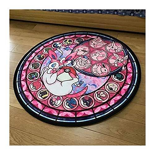 Tapis Pokemon Rond Tapis Tapis Mignon Dessin Animé Plancher Tapis Pour Salon Chambre Enfant Chambre Enfants Tapis Antidérapant Pour Enfants Chambres (Color : D, Size : 120x120cm)