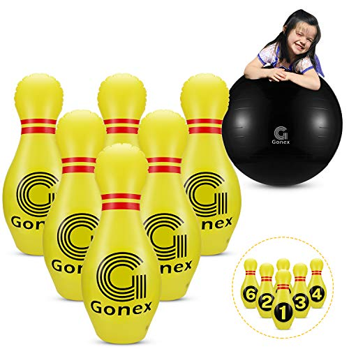 Gonex Giant Inflatable Bowling Set for Kids Family, Lawn Yard Bowling Game Ondoor Indoor Party Toys with 6 Pins and 1 Ball and Pump, Yellow