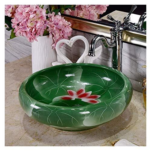 Lavabos Sobre Encimera sobre el lavabo del lavabo Fregadero de recipientes de baño verde con decoración de loto, fregaderos de cuenca de cerámica de porcelana de 40xx15cm, moderno encima de la lavabo