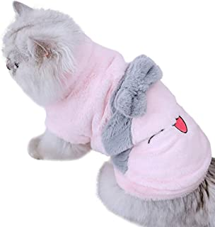 ZARYIEEO Two-Legged Cat Coat with Smiley Face Pattern & Bow on The Back, Cozy Kitten Coat with Snaps, Kitty Doggies Winter Apparel, Kitten Puppy Dog Outfits, Small Teddy Chihuahua Dog Cotton Jacket