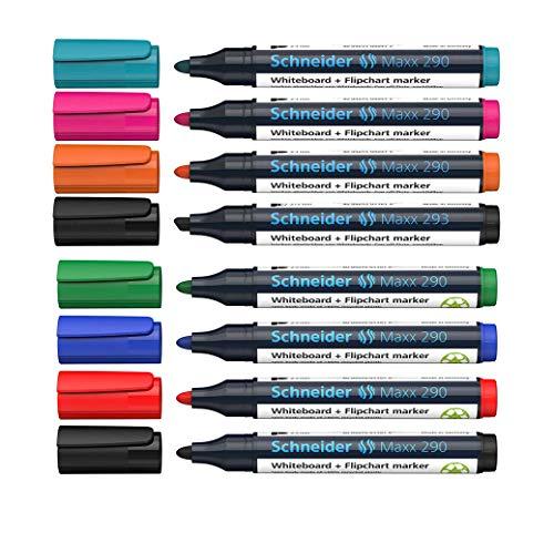 Schneider Maxx 290 Marker (für Whiteboards und Flipcharts, Rundspitze 2-3 mm Strichstärke 4er Marker, Sortiert + Sonderfarben