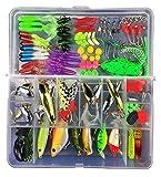JasCherry Kit di Esche da Pesca Cucchiaini da Pesca Artificiali Pesca con una scatola di attrezzatur- Esche da Spinning Accessori con Vermi, Esche Dure, Ganci Singolo, Insetti