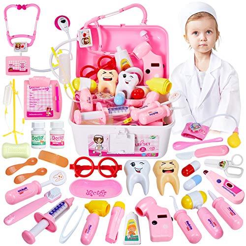 HERSITY 35 Stück Arztkoffer Mädchen Rollenspiel Spielzeug Doctor Set Kinderarzt Koffer Arztkittel Kinder Geschenke Spielsachen ab 3 4 5 6 Jahre Kleinkind (Rosa)