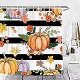 Wencal Kürbis Duschvorhang Herbst Ahornblätter schwarz & weiß gestreift Badezimmer Dekor mit Haken – 183 x 183 cm