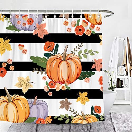Wencal Duschvorhang Kürbis Herbst Ahornblätter schwarz & weiß gestreift Badezimmer Dekor mit Haken – 182,9 x 182,9 cm