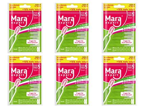 Interdentalbürsten Grün von MARA EXPERT   0,7mm ISO 5 breit   6 x 14 (=84) Interdentalbürsten   Ideal für feste Zahnspange   Mit Fluorid, Chlorhexidin und Minzbeschichtung, Für frischen Atem