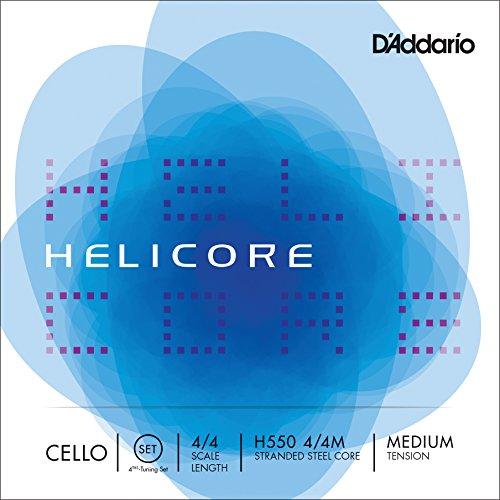 Set di corde H550 4/4M D'Addario Helicore per violoncello, accordatura in quarta, scala 4/4, tensione media