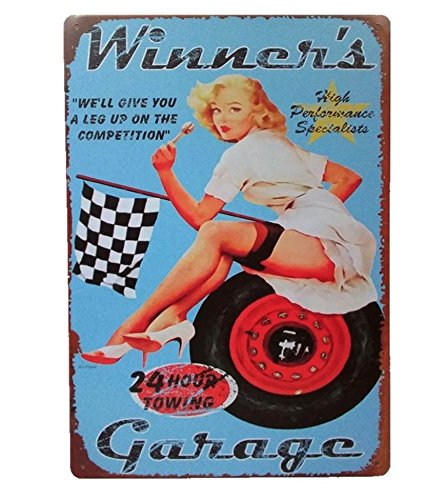UNiQ Designs Vintage Tin Signs Winners Garage Man Cave Garage Decor Retro Garage Poster Bar Wall Sign - The Perfect Metal Vintage Pub Sign, Pin Up Garage Sign or Garage Decor Tin Sign for Men 12 x 8