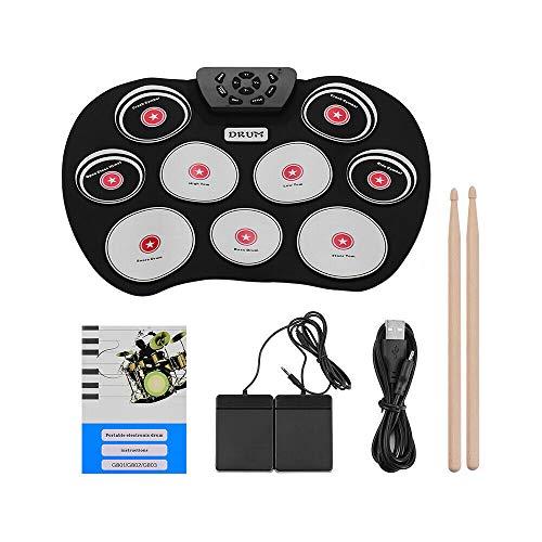 DAMUA Tragbares elektronisches Schlagzeug Aufrollbares elektronisches MIDI-Schlagzeug 9 Pads Eingebaute Lautsprecher, Fußpedale, Drumsticks, USB-Kabel Übungs-Schlagzeug
