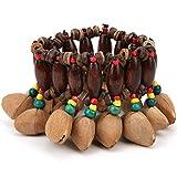 Pulsera tribal africana, pulsera de tambor de estilo tribal africano, hecha a mano, cáscara de nuez, percusión, suministros para instrumentos musicales