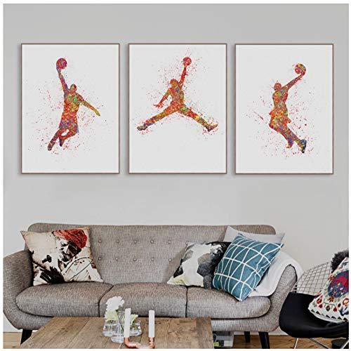 HSFFBHFBH Cuadro de Pared Imprimir Lienzo Acuarela Baloncesto Pintura Cartel Abstracto Deporte Hombre Pinturas Sala de Estar Decoración del hogar 40x60cm (15.7'x23.6) x3 Sin Marco